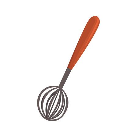 Whisk or beater, kitchen utensil cartoon vector Illustration Иллюстрация