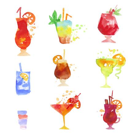 カクテル セット、夏ドリンク カラフルな水彩ベクトル イラスト