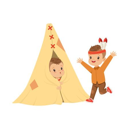 Netter Junge als Indianer verkleidet spielen mit seinen Freunden in einem Tipi-Zelt, Kinder Spaß in einer Hütte Vektor Illustration