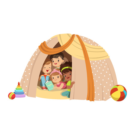 baby playing toy: Cute little boys and girls sitting in a homemade teepee and reading a book, kids having fun in a hut vector Illustration Illustration
