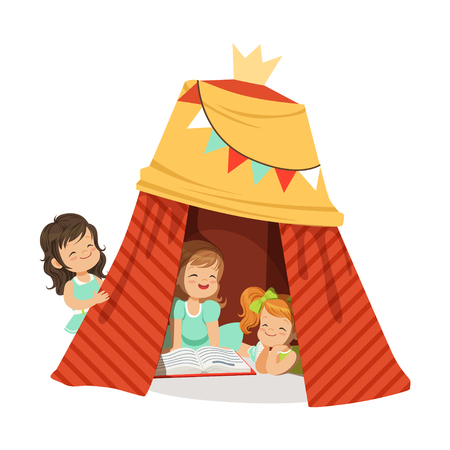 Cute little girls sitting in a homemade teepee and reading a book, kids having fun in a hut vector Illustration