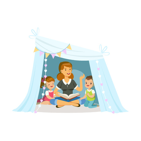 Mum reading a book to her children while sitting a in wigwam, kids having fun in a hut vector Illustration