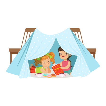 Cute little girls sitting and reading a book in a homemade teepee, kids having fun in a hut vector Illustration