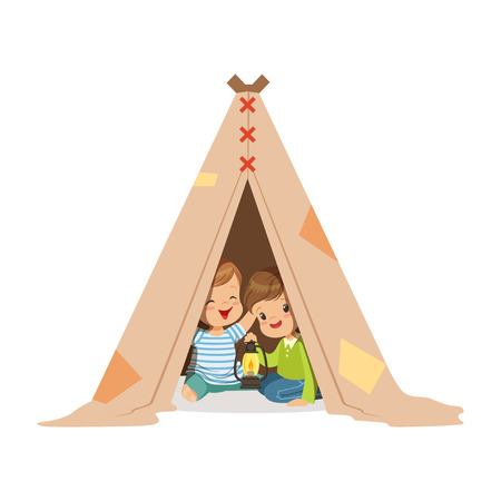 Cute little boys sitting in a tepee tent with a burning lamp, kids having fun in a hut vector Illustration