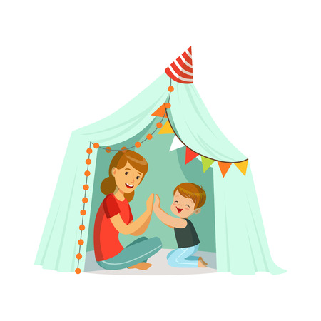 baby playing toy: Mum and her son playing in a tepee tent, kid having fun in a hut vector Illustration Illustration
