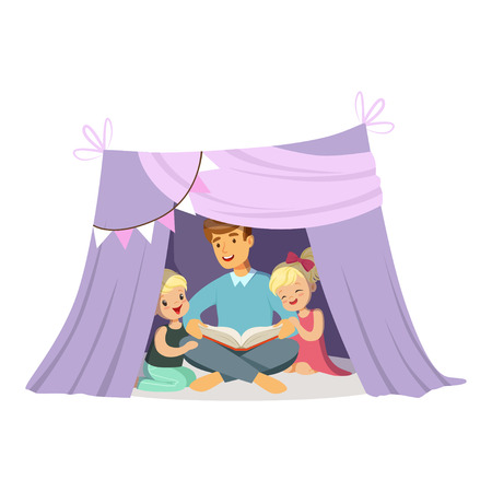 Dad reading a book to her children while sitting in a tepee tent, kids having fun in a hut vector Illustration