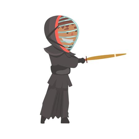 Uomo combattente di samurai con illustrazione vettoriale di cartone animato Archivio Fotografico - 84519828