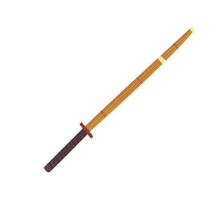 Shinai, spada di bambù, illustrazione di vettore del fumetto dell'attrezzatura di kendo Archivio Fotografico - 84520488