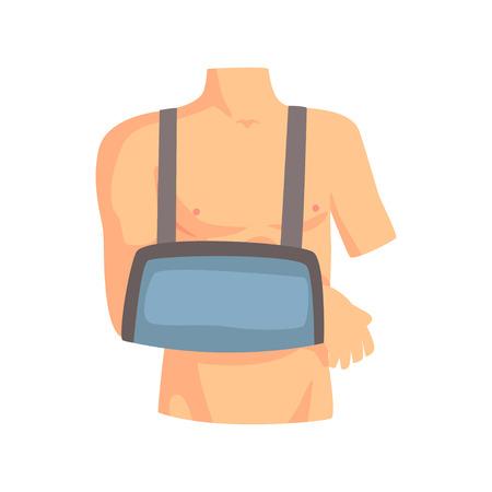 Broken arm with a plaster cast cartoon vector Illustration