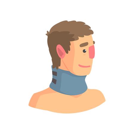 頚椎の問題漫画ベクトル図を治療するために使用されるネックブ レース  イラスト・ベクター素材