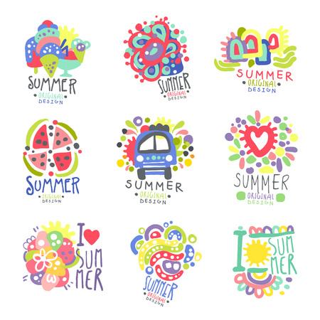 Summer set original design. Summer travel, sea, beach, holiday, adventure colorful hand drawn vector Illustrations Illustration