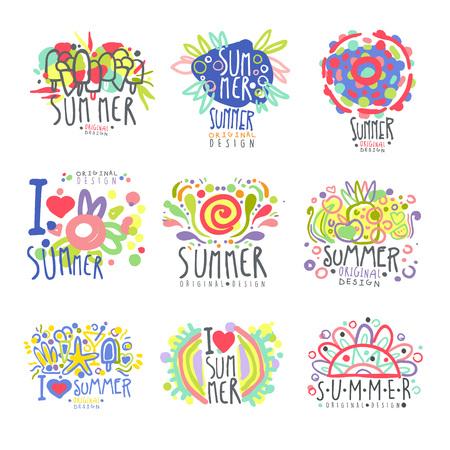I love summer set original design. Summer travel, sea, beach, holiday, adventure colorful hand drawn vector Illustrations