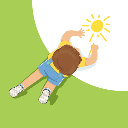 Little boy lying on floor and drawing sun using pencil, top view of child on the floor vector Illustration