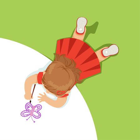 Meisje die op haar maag liggen en een purpere vlinder, hoogste mening van kind op de vloer vectorillustratie schilderen