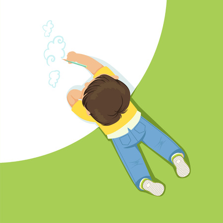 Little boy lying on his stomach and drawing clouds using pencil, top view of child on the floor vector Illustration