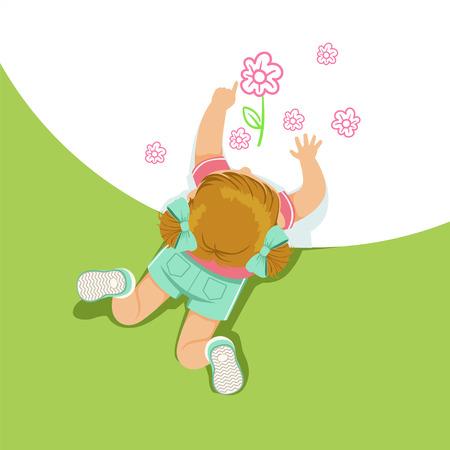 Meisje die op haar maag liggen en bloemen met haar handen, hoogste mening van kind op de vloer vectorillustratie schilderen