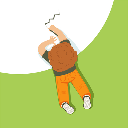 Little boy lying on his stomach and drawing using pencil, top view of child on the floor vector Illustration