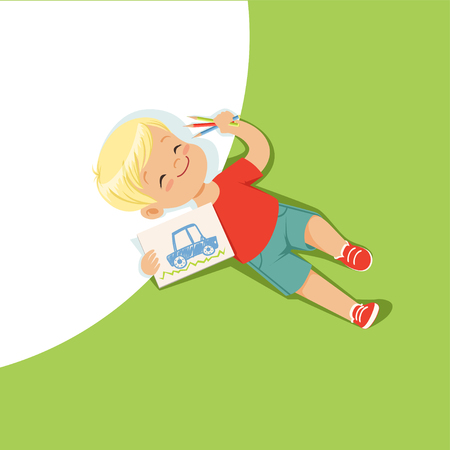 Little boy lying on his back and drawing with colorful pencils, top view of child on the floor vector Illustration Illustration