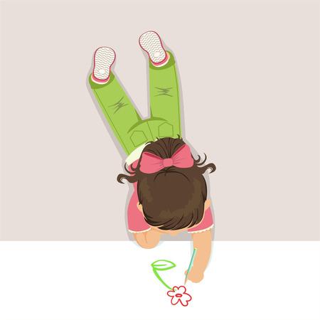 Meisje die op haar maag liggen en bloem trekken die potlood, hoogste mening van kind op de vloer vectorillustratie gebruiken
