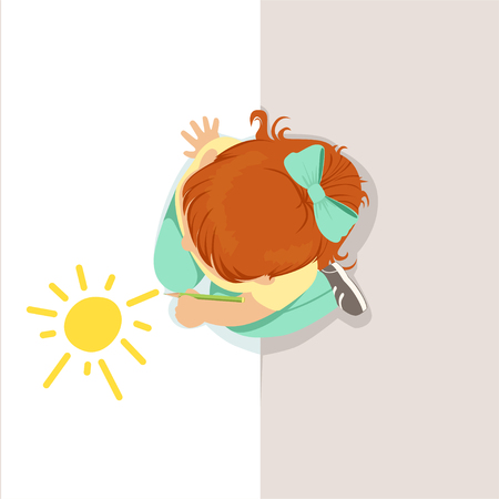 Little girl sitting on her knees and drawing sun using yellow pencil, top view of child on the floor vector Illustration