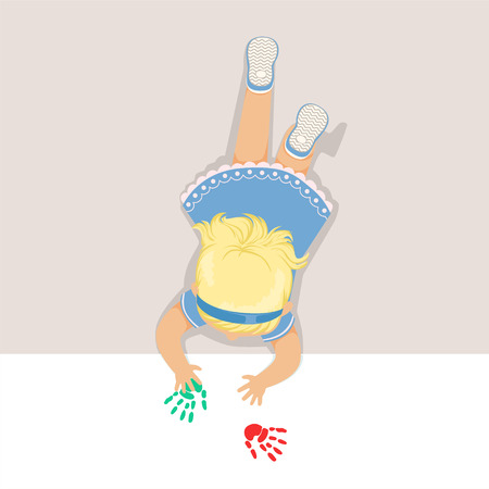 Little blonde girl in a light blue dress lying on her stomach and painting with her hands, top view of child on the floor vector Illustration