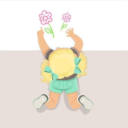 Little blonde girl lying on her stomach and drawing flowers using pencil, top view of child on the floor vector Illustration