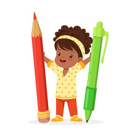 Cute black little girl holding giant red pencil and green pen cartoon vector Illustration on a white background