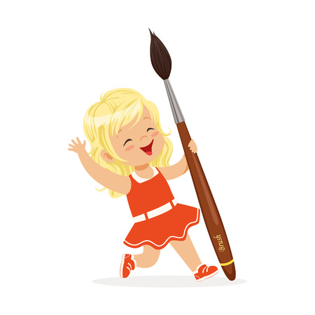 Cute blonde little girl in a red dress holding giant paintbrush cartoon vector Illustration on a white background