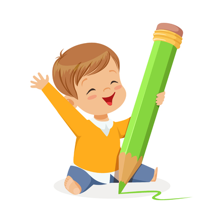 Cute little boy sitting on the floor and writing with a giant green pencil cartoon vector Illustration on a white background