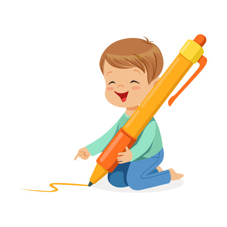 Cute little boy sitting on his knees and writing with giant orange pen cartoon vector Illustration on a white background