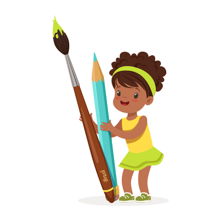 Cute black little girl holding giant light blue pencil and paintbrush cartoon vector Illustration on a white background Illusztráció