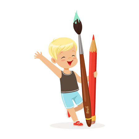 Cute blonde little boy holding giant red pencil and paintbrush cartoon vector Illustration on a white background Illustration