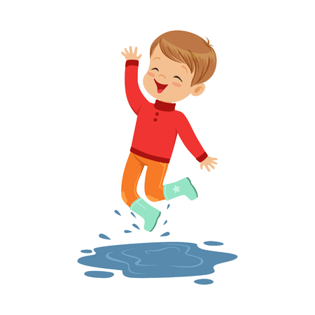 Cute little boy playing on a puddle wearing rubber boots cartoon vector Illustration on a white background