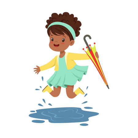Cute little girl holding colorful umbrella and playing in the rain cartoon vector Illustration on a white background Çizim