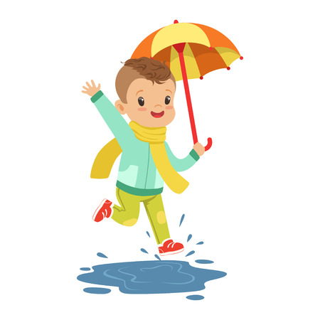 Cute little boy holding colorful umbrella playing in the rain cartoon vector Illustration on a white background