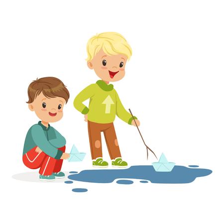 水ペーパー ボートで遊ぶかわいい男の子水たまり白地に漫画のベクトル図