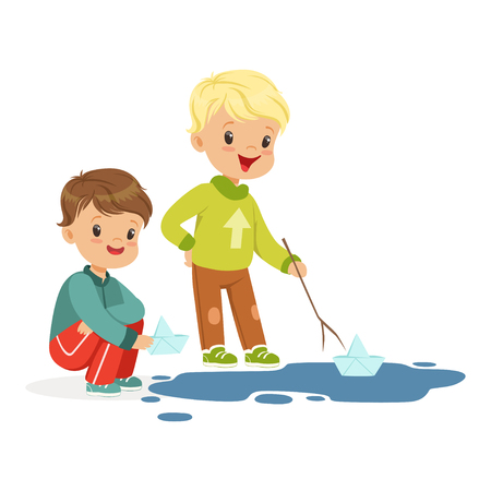 Cute little boys playing with paper boats in a water puddle cartoon vector Illustration on a white background