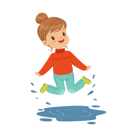 rainy season: Cute happy little girl playing on a puddle wearing rubber boots cartoon vector Illustration on a white background