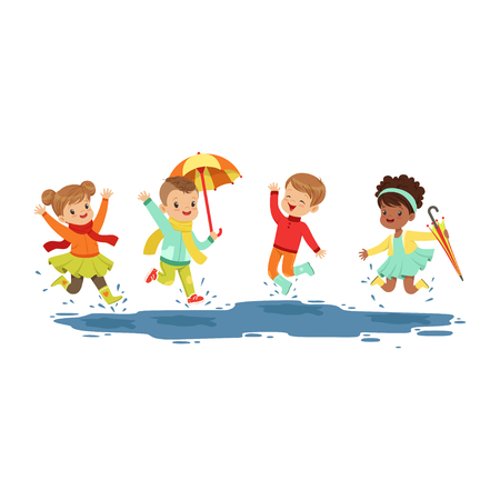 Cute smiling little kids jumping and splashing through the puddles, boys and girls playing in the rain cartoon vector Illustration on a white background