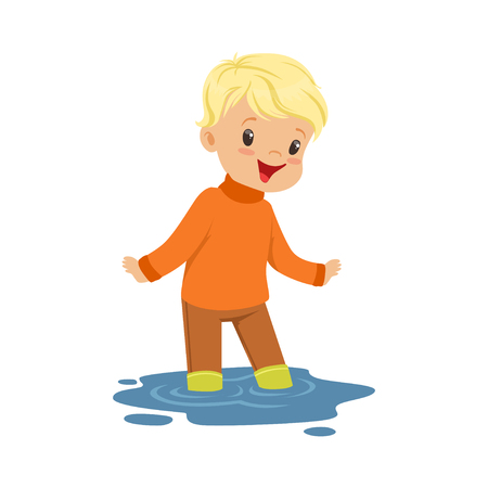 Cute blonde little boy playing on a puddle wearing cartoon vector Illustration on a white background Illustration
