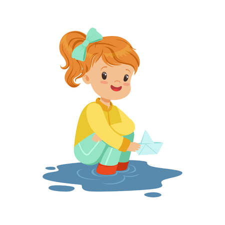 Sweet little girl playing with paper boat in a water puddle cartoon vector Illustration on a white background