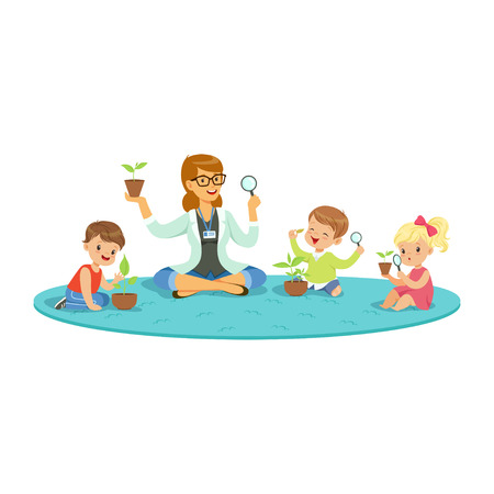 Teacher and kids sitting on the floor learning about plants during botany lesson, kids looking through magnifier, preschool educational activities cartoon vector Illustration on a white background Zdjęcie Seryjne - 84776101