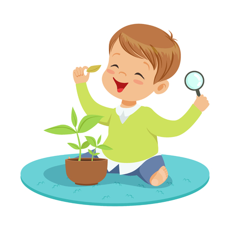 Cute smiling little boy examining a plant through a magnifying glass, preschool educational activities cartoon vector Illustration on a white background