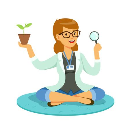 여성 교사 또는 돋보기를 통해 식물을 검사하는 과학자 만화 벡터 일러스트 흰색 배경에