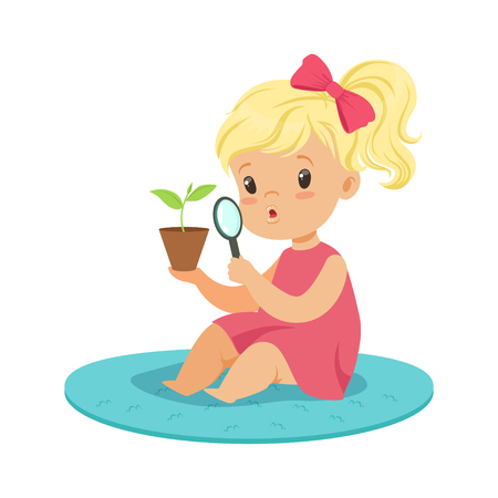 Sweet blonde little girl examining a plant through a magnifying glass, preschool educational activities cartoon vector Illustration on a white background