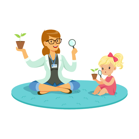Teacher and little girl sitting on the floor and learning about plants during botany lesson, preschool educational activities cartoon vector Illustration