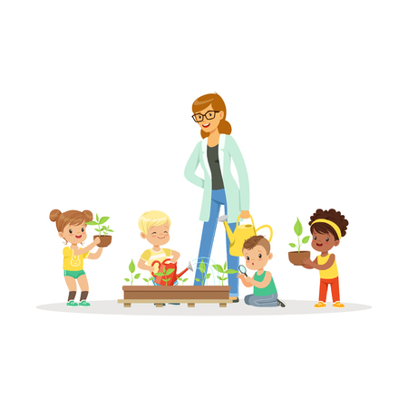 Cute girls and boys help their teacher to care for plants during botany lesson, preschool educational activities cartoon vector Illustration Vectores