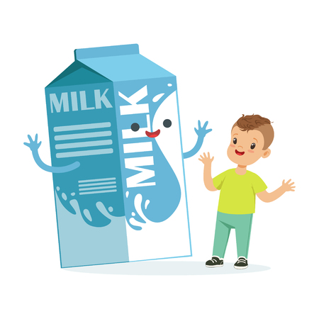 Cute happy little boy and funny milk carton box with smiling human face playing and having fun, healthy childrens food cartoon characters vector Illustration