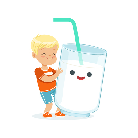Cute blonde little boy and funny milk glass with smiling human face playing and having fun, healthy childrens food cartoon characters vector Illustration Ilustração