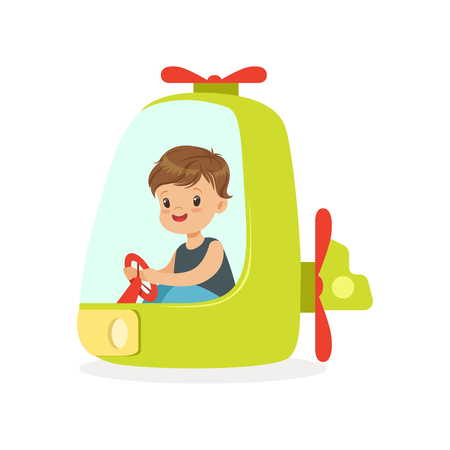 Cute little boy riding on a helicopter, kid have a fun in amusement park cartoon vector Illustration